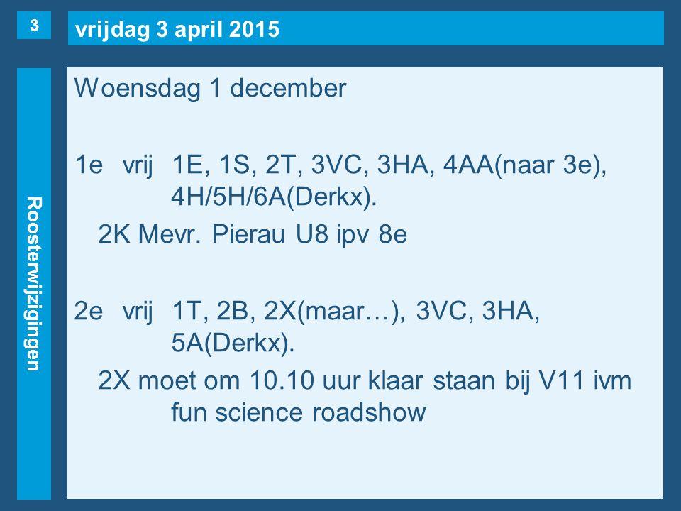 vrijdag 3 april 2015 Roosterwijzigingen Woensdag 1 december 1evrij1E, 1S, 2T, 3VC, 3HA, 4AA(naar 3e), 4H/5H/6A(Derkx). 2K Mevr. Pierau U8 ipv 8e 2evri