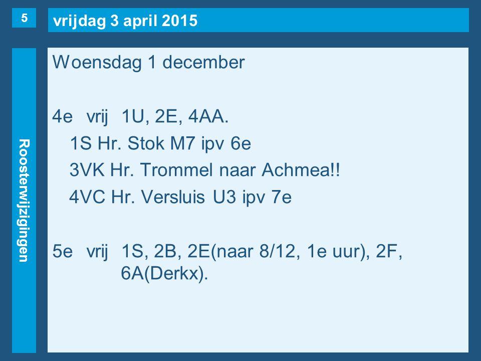 vrijdag 3 april 2015 Roosterwijzigingen Woensdag 1 december 4evrij1U, 2E, 4AA. 1S Hr. Stok M7 ipv 6e 3VK Hr. Trommel naar Achmea!! 4VC Hr. Versluis U3