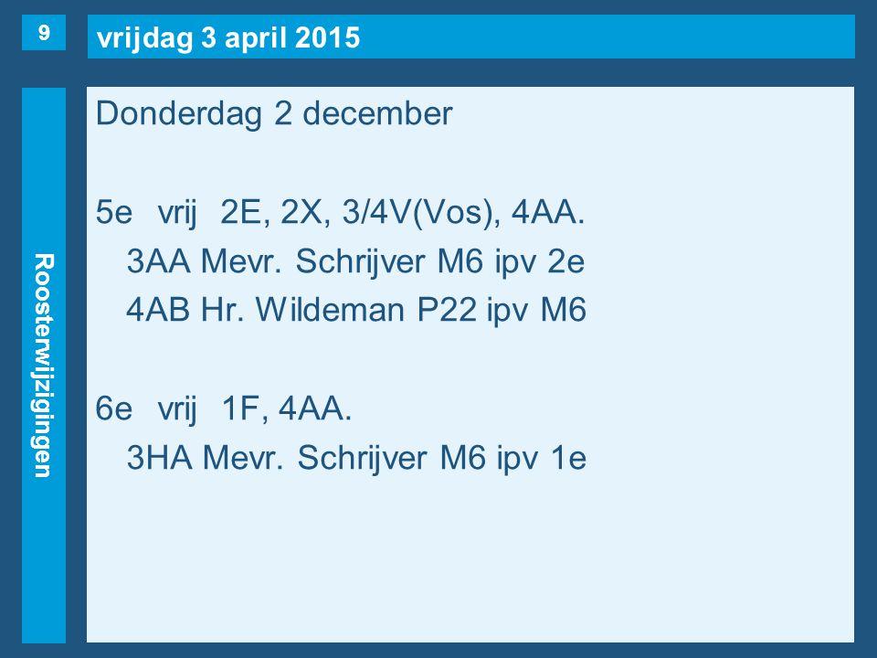 vrijdag 3 april 2015 Roosterwijzigingen Donderdag 2 december 5evrij2E, 2X, 3/4V(Vos), 4AA. 3AA Mevr. Schrijver M6 ipv 2e 4AB Hr. Wildeman P22 ipv M6 6