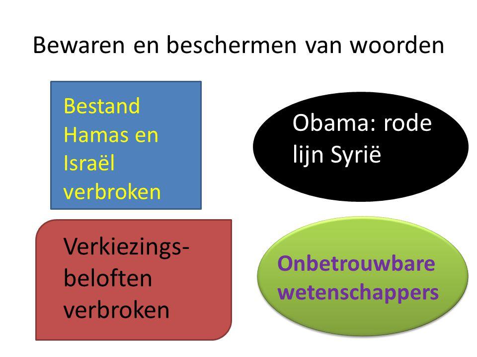 Bestand Hamas en Israël verbroken Obama: rode lijn Syrië Verkiezings- beloften verbroken Onbetrouwbare wetenschappers Bewaren en beschermen van woorde