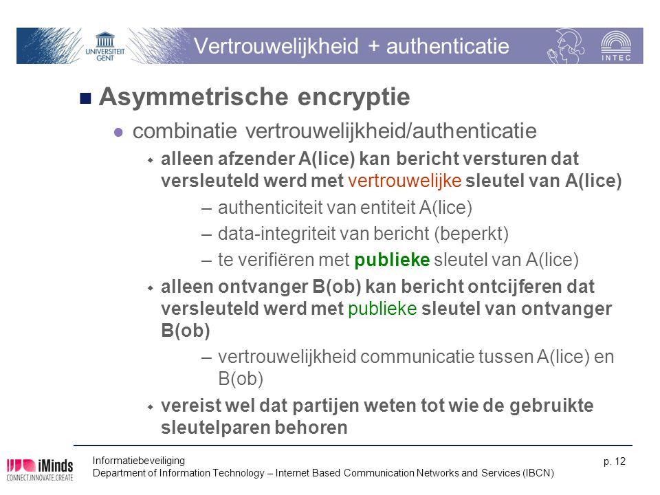Informatiebeveiliging Department of Information Technology – Internet Based Communication Networks and Services (IBCN) p. 12 Vertrouwelijkheid + authe