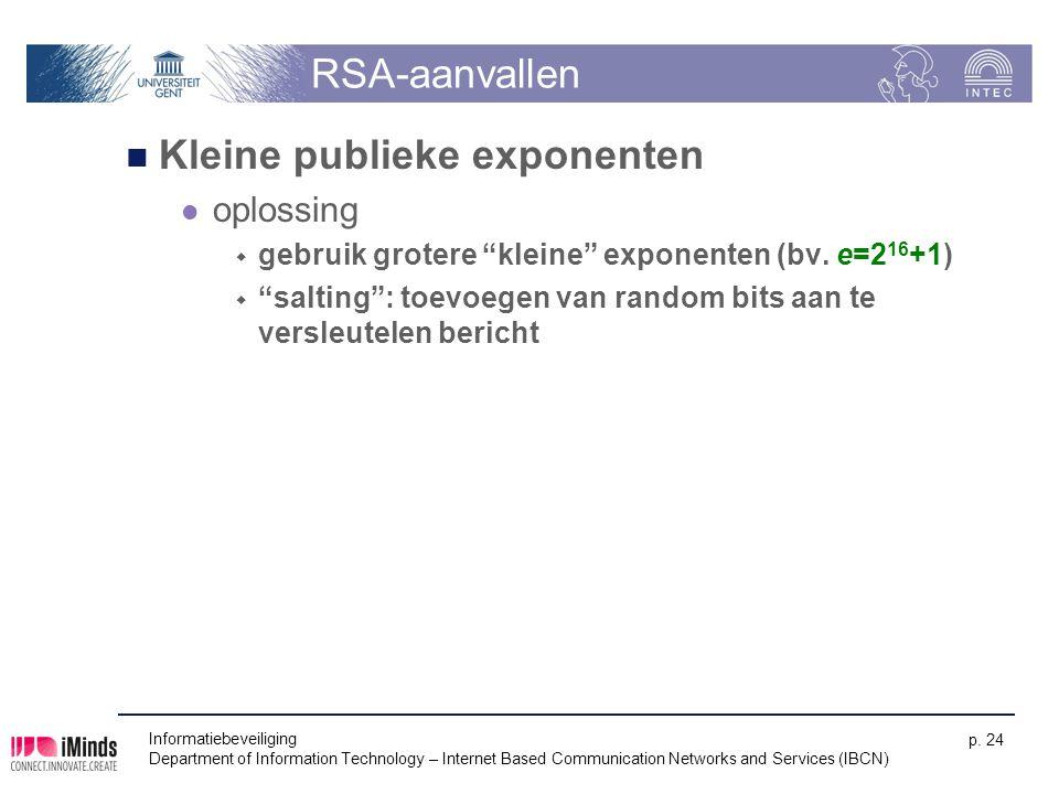 Informatiebeveiliging Department of Information Technology – Internet Based Communication Networks and Services (IBCN) p. 24 RSA-aanvallen Kleine publ