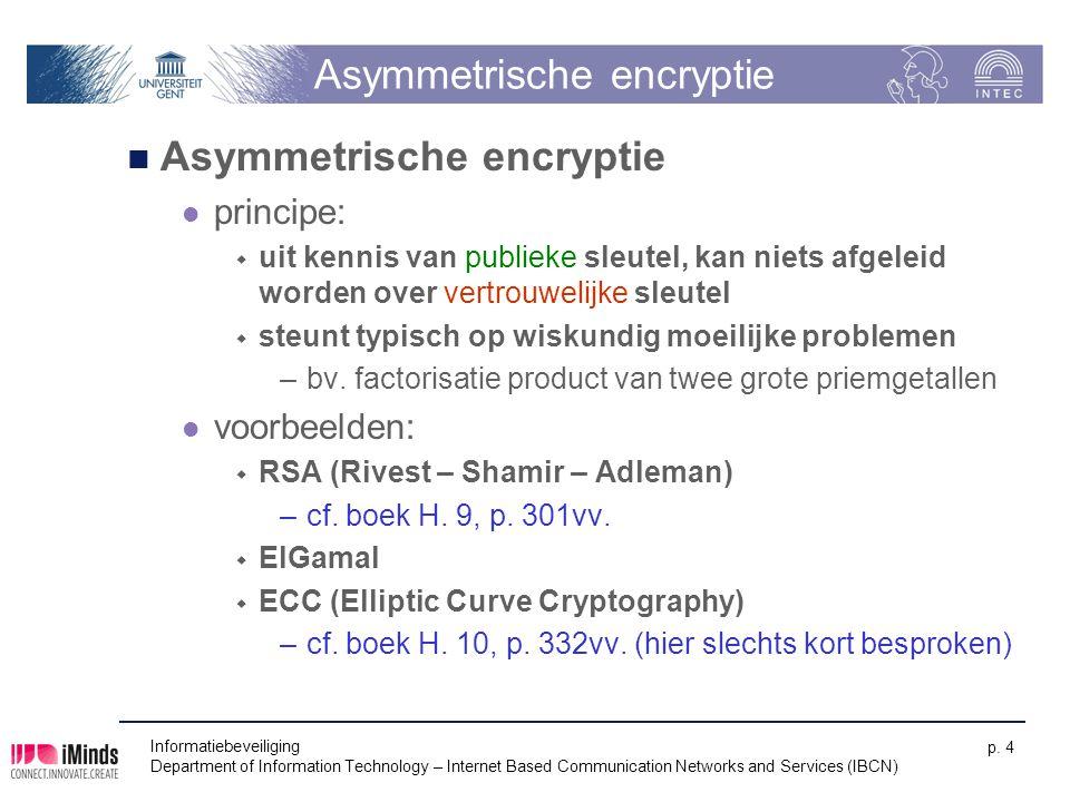 Informatiebeveiliging Department of Information Technology – Internet Based Communication Networks and Services (IBCN) p. 4 Asymmetrische encryptie pr