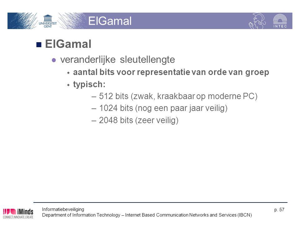 Informatiebeveiliging Department of Information Technology – Internet Based Communication Networks and Services (IBCN) p. 57 ElGamal veranderlijke sle