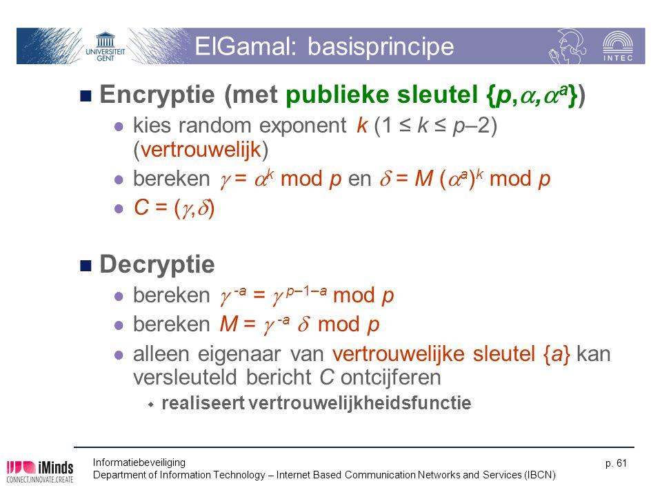 Informatiebeveiliging Department of Information Technology – Internet Based Communication Networks and Services (IBCN) p. 61 ElGamal: basisprincipe En