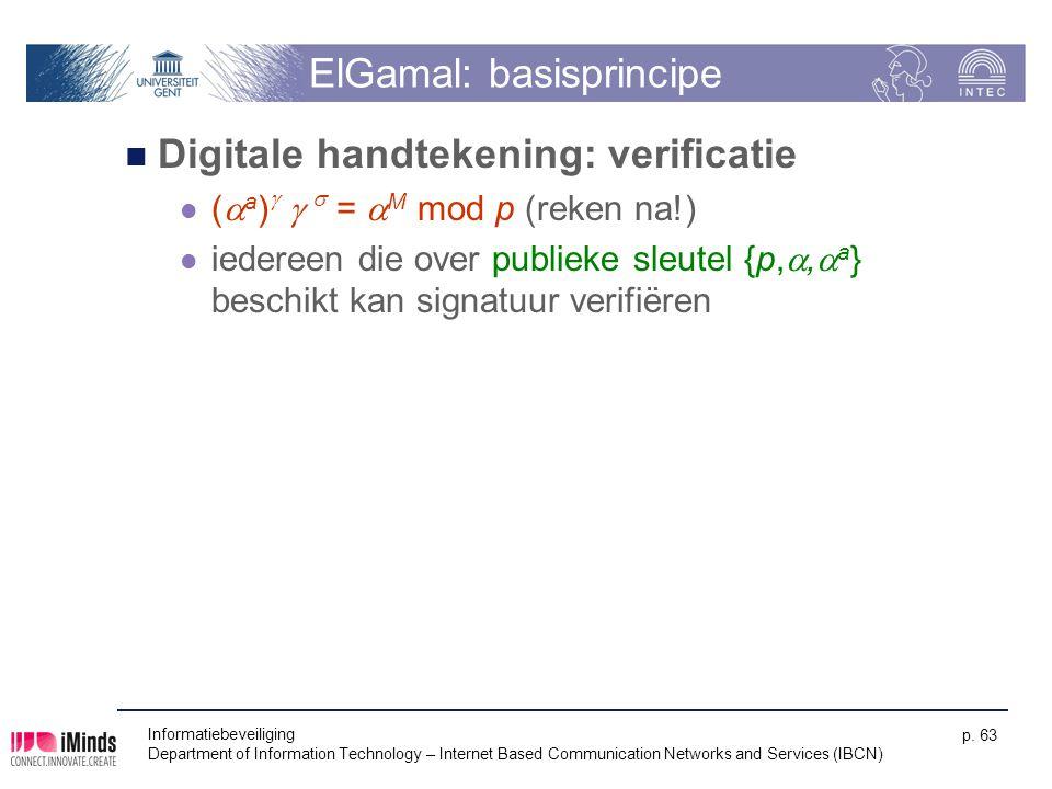 Informatiebeveiliging Department of Information Technology – Internet Based Communication Networks and Services (IBCN) p. 63 ElGamal: basisprincipe Di