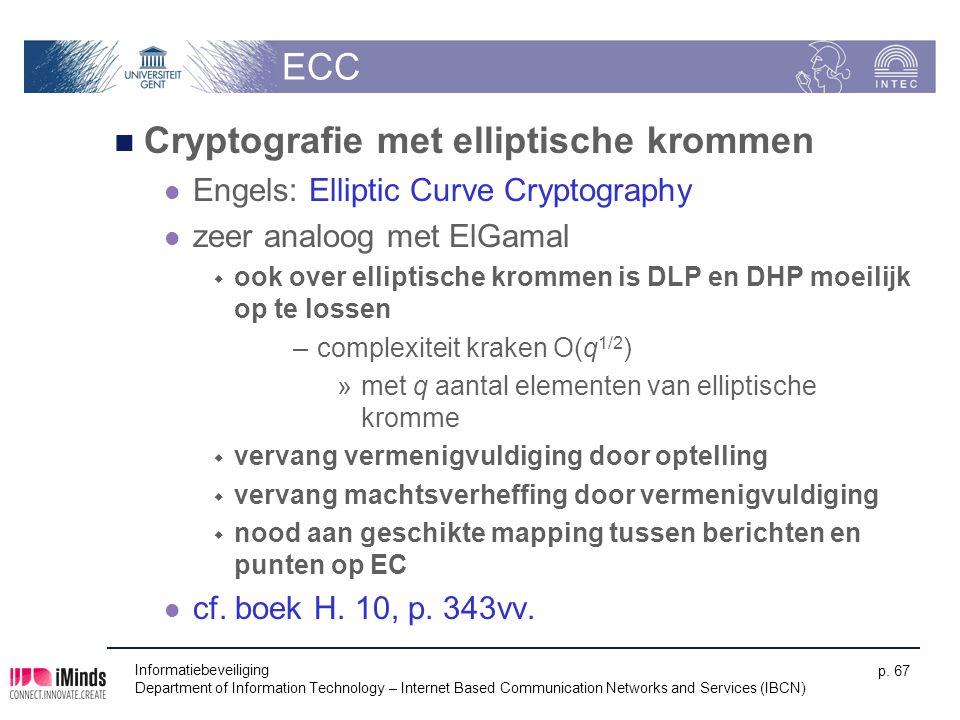 ECC Cryptografie met elliptische krommen Engels: Elliptic Curve Cryptography zeer analoog met ElGamal  ook over elliptische krommen is DLP en DHP moe