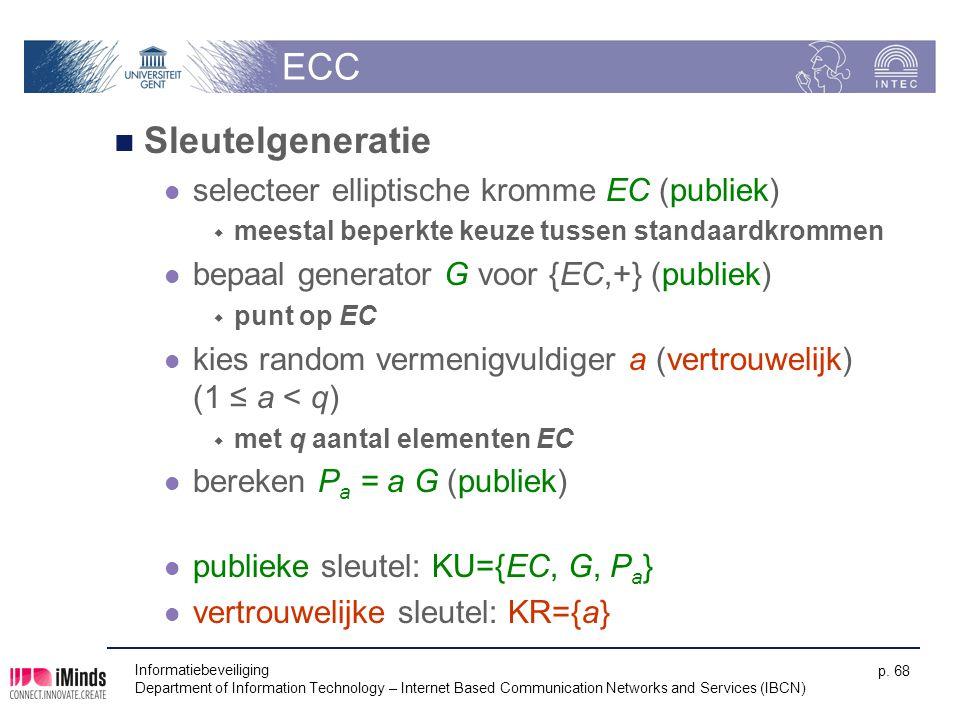 ECC Sleutelgeneratie selecteer elliptische kromme EC (publiek)  meestal beperkte keuze tussen standaardkrommen bepaal generator G voor {EC,+} (publie