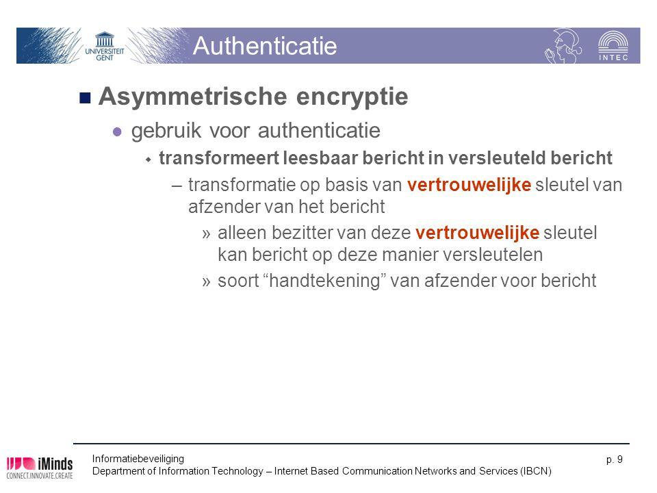 Informatiebeveiliging Department of Information Technology – Internet Based Communication Networks and Services (IBCN) p. 9 Authenticatie Asymmetrisch