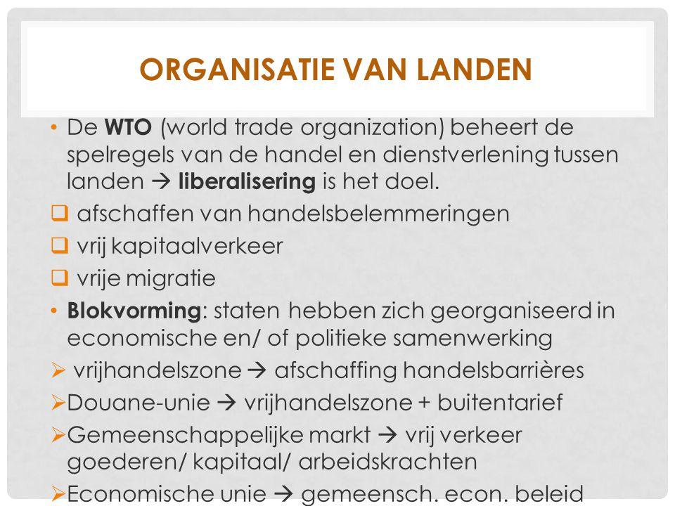 ORGANISATIE VAN LANDEN De WTO (world trade organization) beheert de spelregels van de handel en dienstverlening tussen landen  liberalisering is het