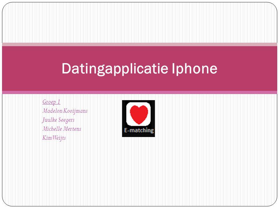 Groep 1 Madelon Kooijmans Juulke Seegers Michelle Mertens Kim Weijts Datingapplicatie Iphone