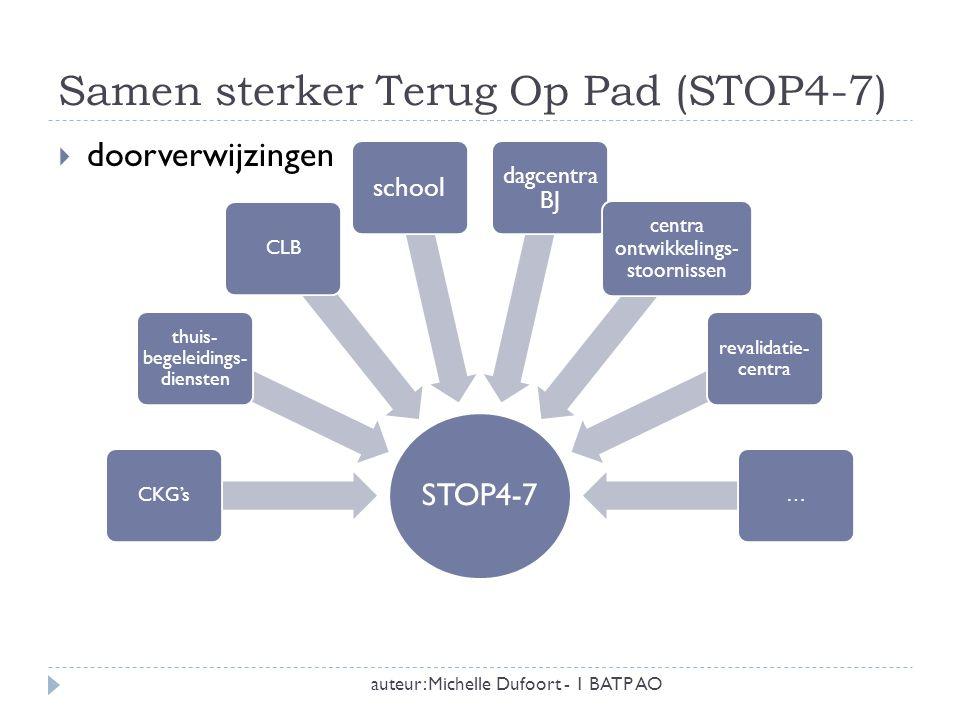 Samen sterker Terug Op Pad (STOP4-7) auteur: Michelle Dufoort - 1 BATP AO  doorverwijzingen STOP4-7 CKG's thuis- begeleidings- diensten CLB school da