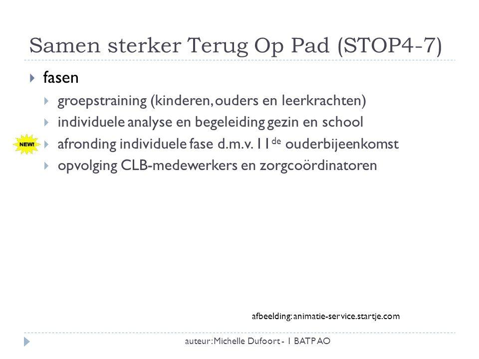 Samen sterker Terug Op Pad (STOP4-7) auteur: Michelle Dufoort - 1 BATP AO  3 belangrijke schakels  kinderen ( sociale vaardigheidstraining)  ouders (oudertraining)  leerkrachten (leerkrachttraining)