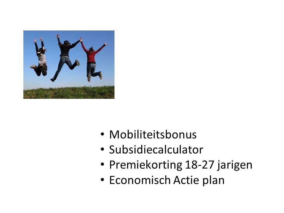 Mobiliteitsbonus Subsidiecalculator Premiekorting 18-27 jarigen Economisch Actie plan