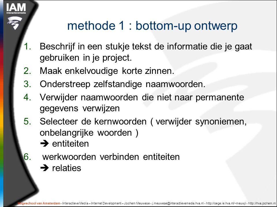 Hogeschool van Amsterdam - Interactieve Media – Internet Development – Jochem Meuwese - j.meuwese@interactievemedia.hva.nl - http://oege.ie.hva.nl/~meuwj/ - http://hva.jochem.nl methode 1 : bottom-up ontwerp 1.Beschrijf in een stukje tekst de informatie die je gaat gebruiken in je project.