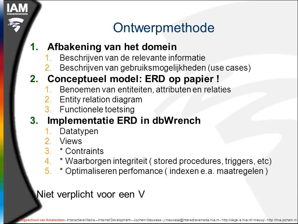 Hogeschool van Amsterdam - Interactieve Media – Internet Development – Jochem Meuwese - j.meuwese@interactievemedia.hva.nl - http://oege.ie.hva.nl/~meuwj/ - http://hva.jochem.nl Plan van aanpak  Wk 6: afbakening van het domein Huiswerk: versie 1 van het conceptueel datamodel  Wk 7: criteria voor goed datamodel Huiswerk: versie 2 van het conceptueel datamodel  Wk 8: rooster vrij thuiswerken  Wk 9: oplevering 1 implementatie en documentatie datamodel  Wk 10: oplevering definitief implementatie en documentatie datamodel