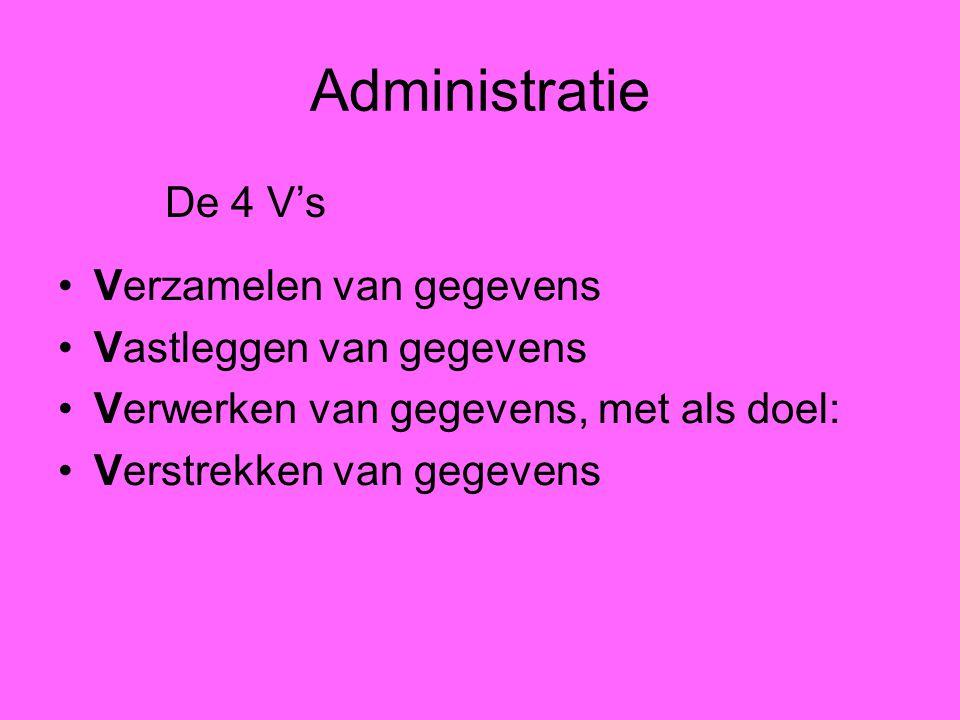 Administratie Verzamelen van gegevens Vastleggen van gegevens Verwerken van gegevens, met als doel: Verstrekken van gegevens De 4 V's