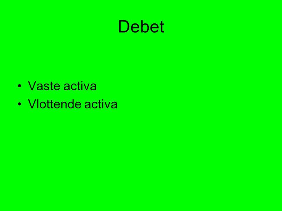 Debet Vaste activa Vlottende activa