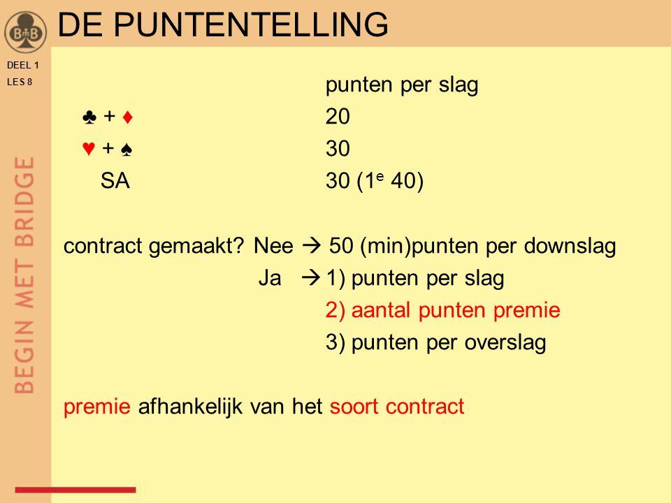 DEEL 1 LES 8 punten per slag ♣ + ♦ 20 ♥ + ♠ 30 SA30 (1 e 40) contract gemaakt? Nee  50 (min)punten per downslag Ja  1) punten per slag 2) aantal pun