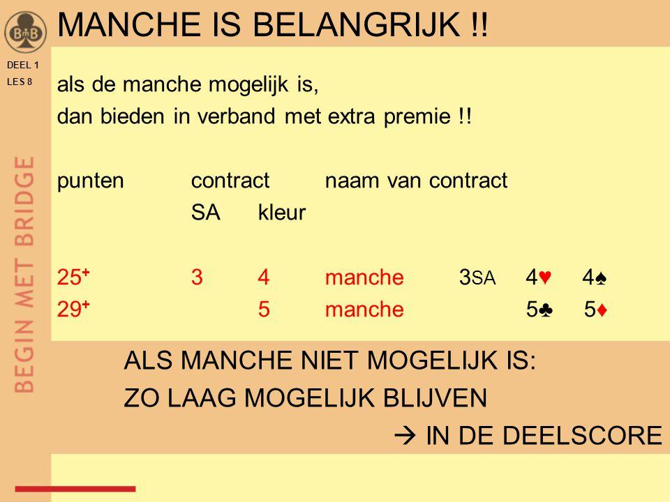 DEEL 1 LES 8 MANCHE IS BELANGRIJK !! als de manche mogelijk is, dan bieden in verband met extra premie !! puntencontractnaam van contract SAkleur 25 +