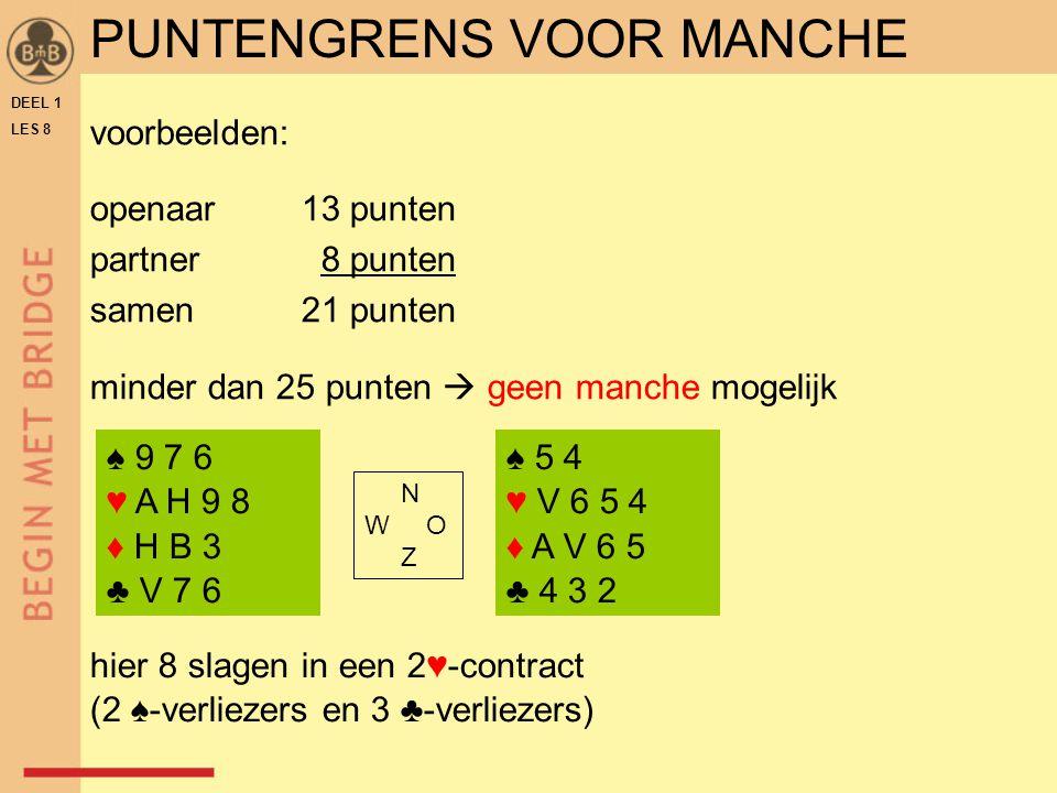 DEEL 1 LES 8 PUNTENGRENS VOOR MANCHE voorbeelden: openaar13 punten partner 8 punten samen21 punten minder dan 25 punten  geen manche mogelijk ♠ 5 4 ♥
