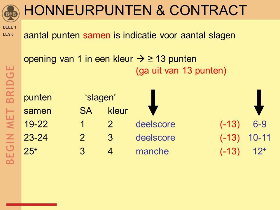 DEEL 1 LES 8 HONNEURPUNTEN & CONTRACT aantal punten samen is indicatie voor aantal slagen opening van 1 in een kleur  ≥ 13 punten (ga uit van 13 punt