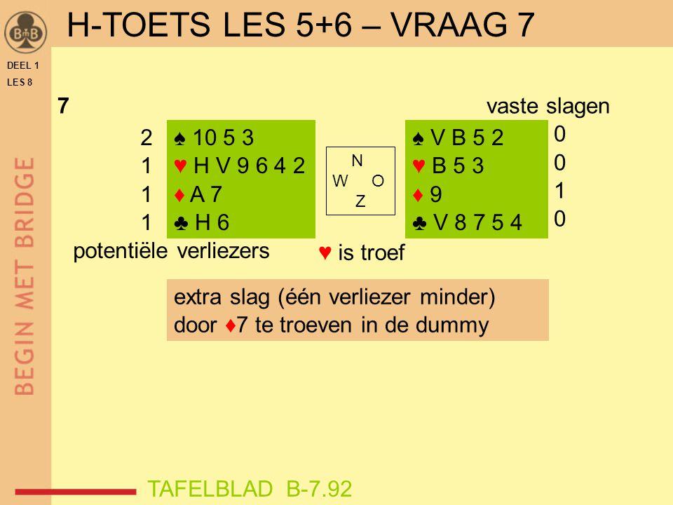 DEEL 1 LES 8 7 ♥ is troef ♠ 10 5 3 ♥ H V 9 6 4 2 ♦ A 7 ♣ H 6 ♠ V B 5 2 ♥ B 5 3 ♦ 9 ♣ V 8 7 5 4 vaste slagen 0 1 0 N W O Z 2 1 potentiële verliezers ex