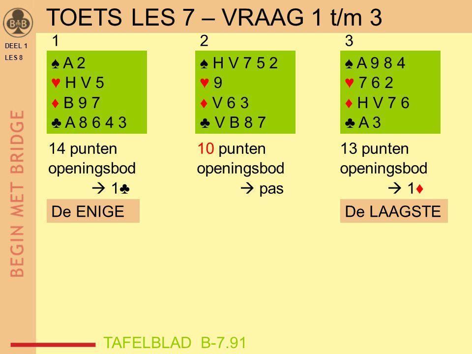 DEEL 1 LES 8 ♠ 5 ♥ H V 3 2 ♦ A B 9 7 5 4 ♣ H 6 ♠ A V B 4 ♥ H 9 3 ♦ A 8 2 ♣ A 7 5 ♠ H V 4 3 2 ♥ A 9 6 4 ♦ 9 6 ♣ 8 7 456 9 punten openingsbod  pas 13 punten openingsbod  1♦ 18 punten openingsbod  1♠ De ENIGE TAFELBLAD B-7.91 De LANGSTE TOETS LES 7 – VRAAG 4 t/m 6