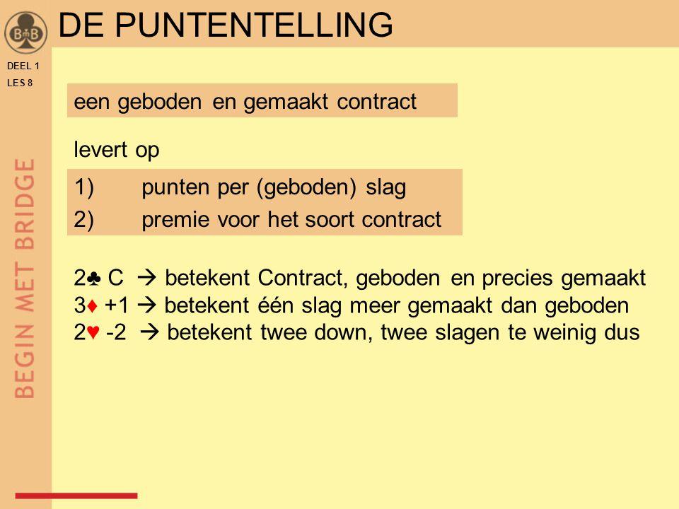 DEEL 1 LES 8 DE PUNTENTELLING een geboden en gemaakt contract 1)punten per (geboden) slag 2)premie voor het soort contract levert op 2♣ C  betekent C