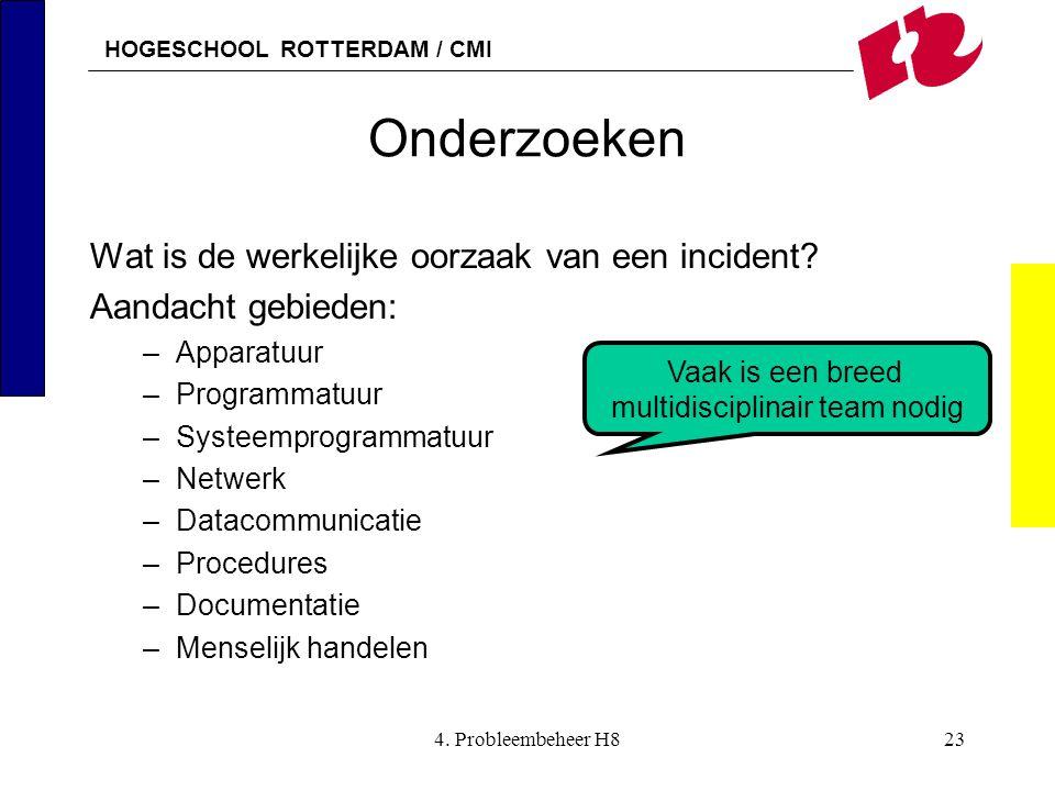 HOGESCHOOL ROTTERDAM / CMI 4. Probleembeheer H823 Onderzoeken Wat is de werkelijke oorzaak van een incident? Aandacht gebieden: –Apparatuur –Programma