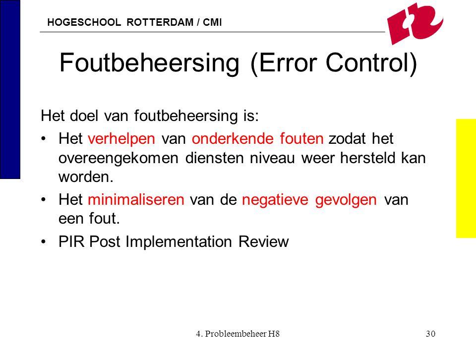 HOGESCHOOL ROTTERDAM / CMI 4. Probleembeheer H830 Foutbeheersing (Error Control) Het doel van foutbeheersing is: Het verhelpen van onderkende fouten z