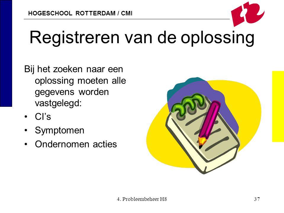 HOGESCHOOL ROTTERDAM / CMI 4. Probleembeheer H837 Registreren van de oplossing Bij het zoeken naar een oplossing moeten alle gegevens worden vastgeleg