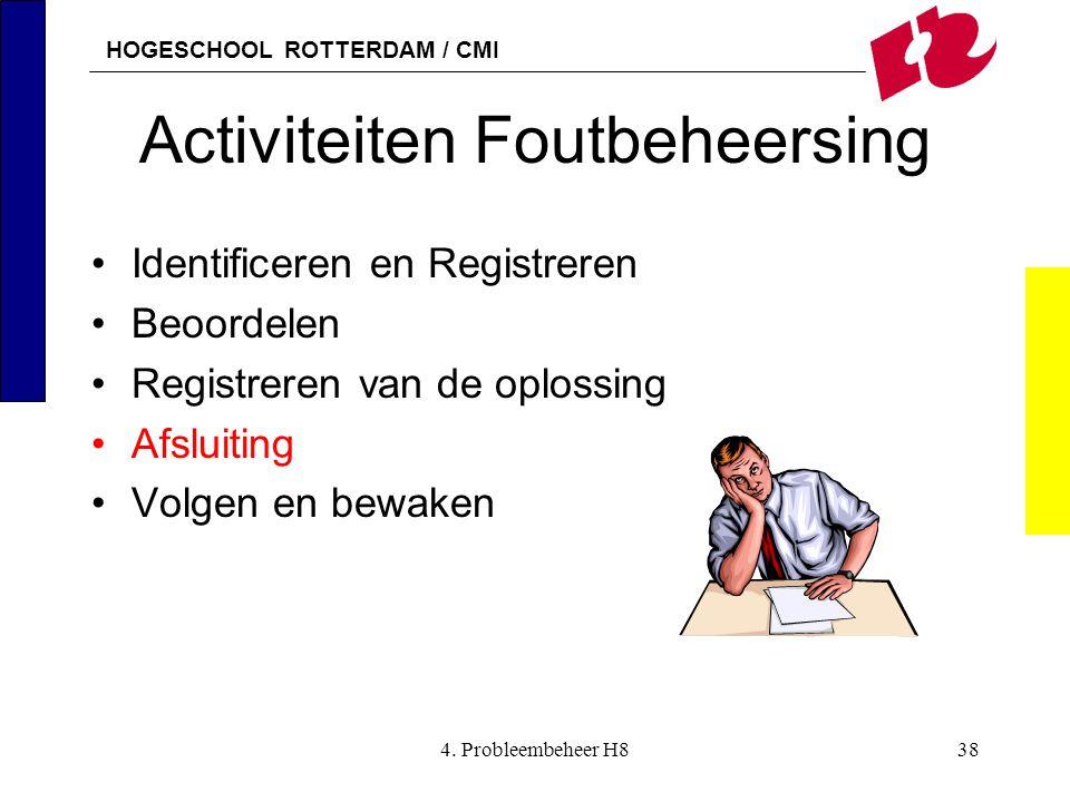 HOGESCHOOL ROTTERDAM / CMI 4. Probleembeheer H838 Activiteiten Foutbeheersing Identificeren en Registreren Beoordelen Registreren van de oplossing Afs