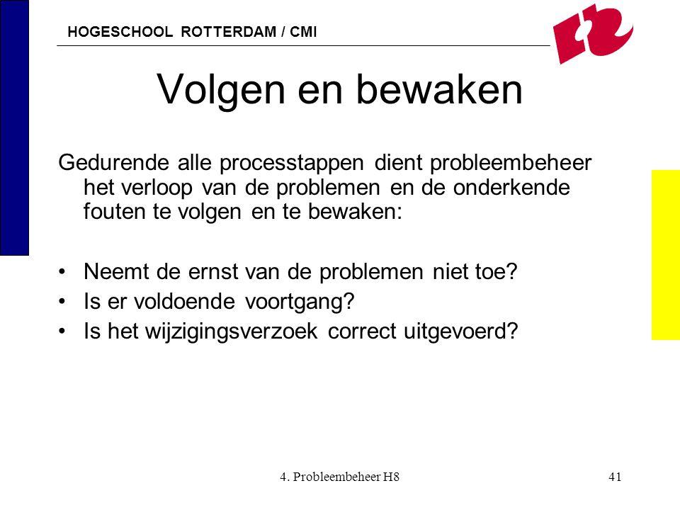 HOGESCHOOL ROTTERDAM / CMI 4. Probleembeheer H841 Volgen en bewaken Gedurende alle processtappen dient probleembeheer het verloop van de problemen en