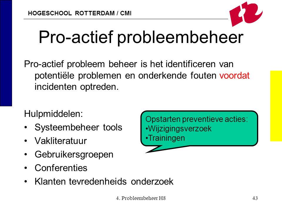 HOGESCHOOL ROTTERDAM / CMI 4. Probleembeheer H843 Pro-actief probleembeheer Pro-actief probleem beheer is het identificeren van potentiële problemen e