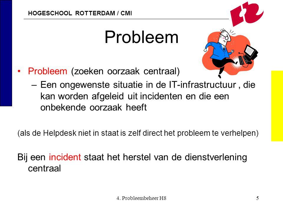 HOGESCHOOL ROTTERDAM / CMI 4. Probleembeheer H85 Probleem Probleem (zoeken oorzaak centraal) –Een ongewenste situatie in de IT-infrastructuur, die kan