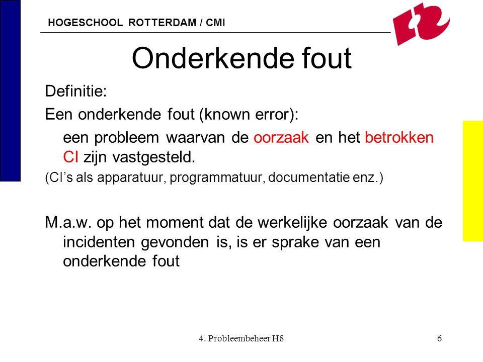HOGESCHOOL ROTTERDAM / CMI 4. Probleembeheer H86 Onderkende fout Definitie: Een onderkende fout (known error): een probleem waarvan de oorzaak en het