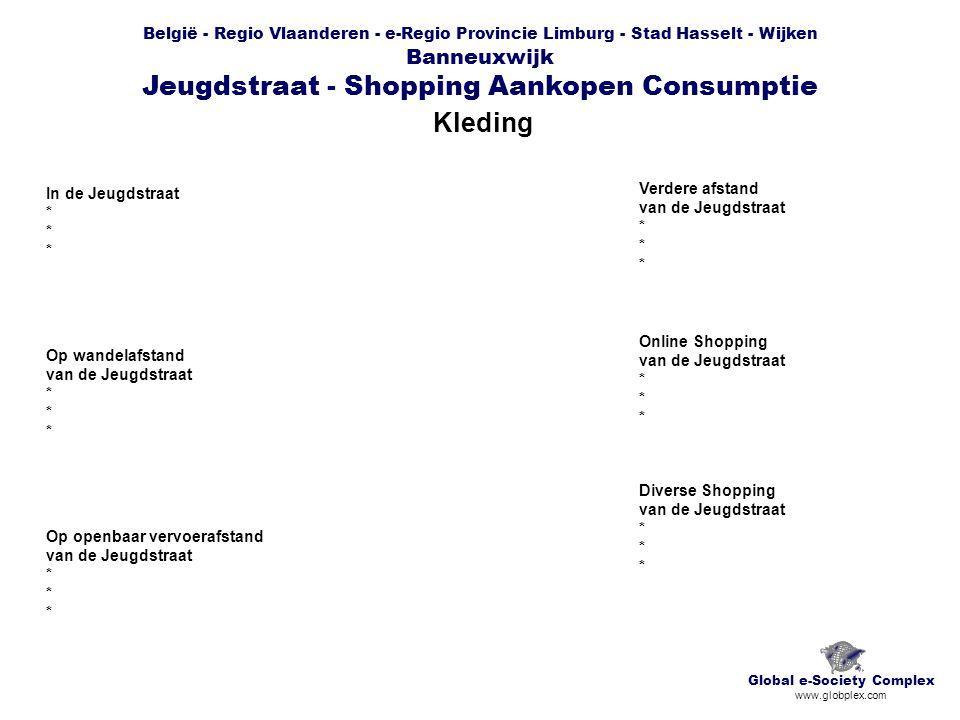 België - Regio Vlaanderen - e-Regio Provincie Limburg - Stad Hasselt - Wijken Banneuxwijk Jeugdstraat - Shopping Aankopen Consumptie Kleding Global e-Society Complex www.globplex.com In de Jeugdstraat * Op wandelafstand van de Jeugdstraat * Op openbaar vervoerafstand van de Jeugdstraat * Verdere afstand van de Jeugdstraat * Online Shopping van de Jeugdstraat * Diverse Shopping van de Jeugdstraat *