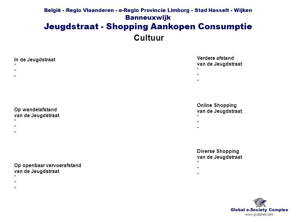België - Regio Vlaanderen - e-Regio Provincie Limburg - Stad Hasselt - Wijken Banneuxwijk Jeugdstraat - Shopping Aankopen Consumptie Cultuur Global e-Society Complex www.globplex.com In de Jeugdstraat * Op wandelafstand van de Jeugdstraat * Op openbaar vervoerafstand van de Jeugdstraat * Verdere afstand van de Jeugdstraat * Online Shopping van de Jeugdstraat * Diverse Shopping van de Jeugdstraat *