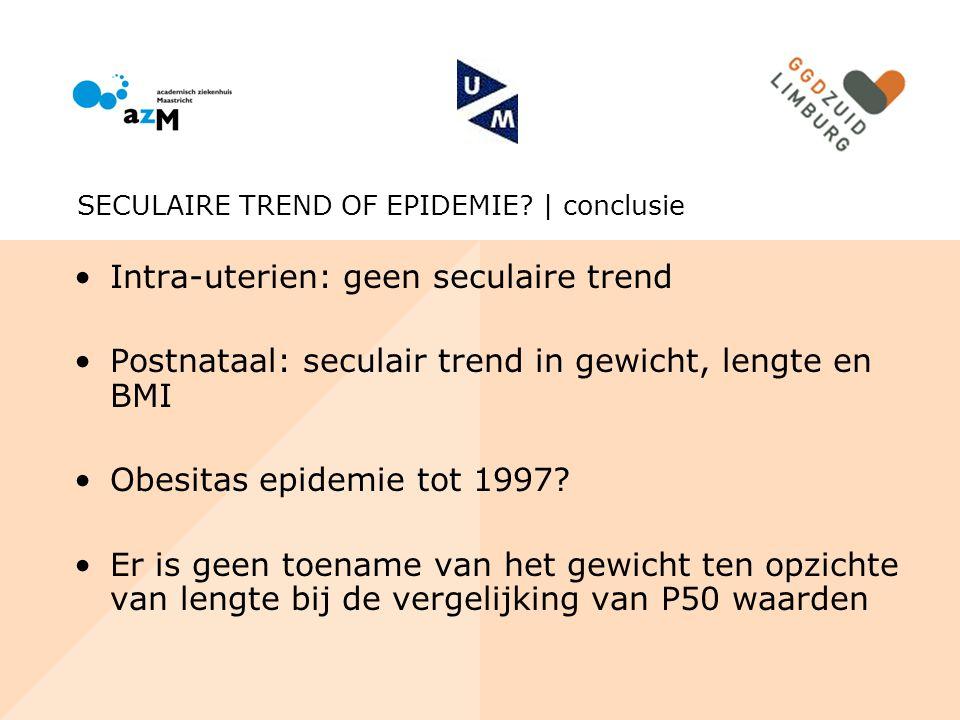 Intra-uterien: geen seculaire trend Postnataal: seculair trend in gewicht, lengte en BMI Obesitas epidemie tot 1997? Er is geen toename van het gewich