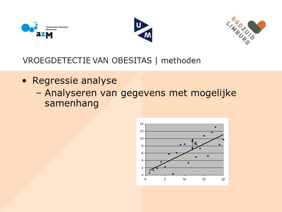 Regressie analyse –Analyseren van gegevens met mogelijke samenhang VROEGDETECTIE VAN OBESITAS | methoden