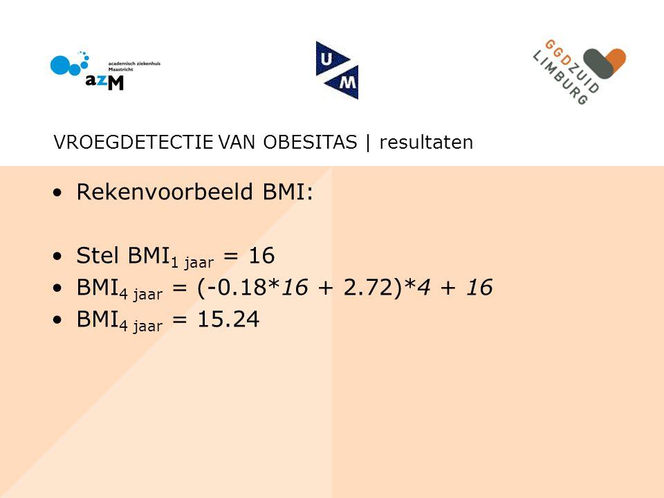 Rekenvoorbeeld BMI: Stel BMI 1 jaar = 16 BMI 4 jaar = (-0.18*16 + 2.72)*4 + 16 BMI 4 jaar = 15.24 VROEGDETECTIE VAN OBESITAS | resultaten