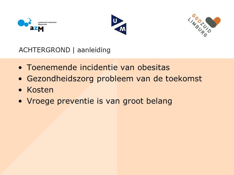 Toenemende incidentie van obesitas Gezondheidszorg probleem van de toekomst Kosten Vroege preventie is van groot belang ACHTERGROND | aanleiding