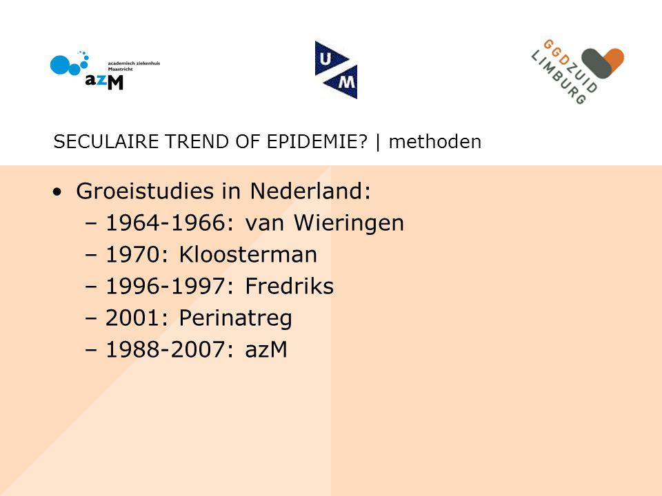 Groeistudies in Nederland: –1964-1966: van Wieringen –1970: Kloosterman –1996-1997: Fredriks –2001: Perinatreg –1988-2007: azM SECULAIRE TREND OF EPID