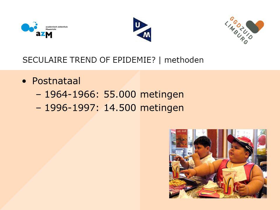 Postnataal –1964-1966: 55.000 metingen –1996-1997: 14.500 metingen SECULAIRE TREND OF EPIDEMIE? | methoden