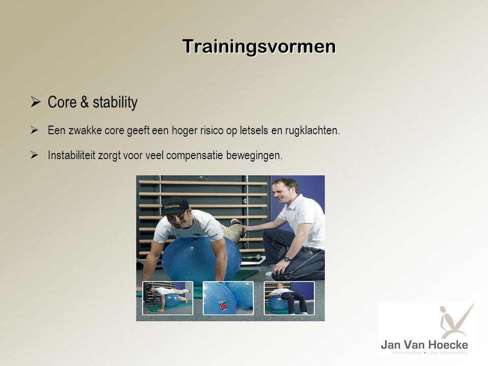 Trainingsvormen  Core & stability  Een zwakke core geeft een hoger risico op letsels en rugklachten.  Instabiliteit zorgt voor veel compensatie bew
