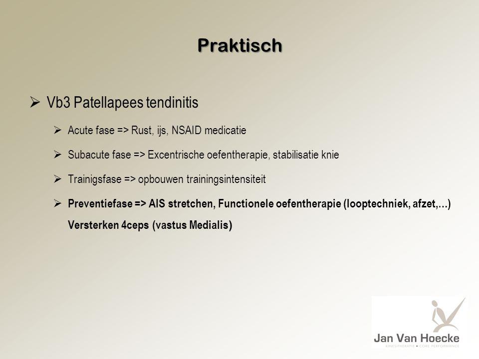Praktisch  Vb3 Patellapees tendinitis  Acute fase => Rust, ijs, NSAID medicatie  Subacute fase => Excentrische oefentherapie, stabilisatie knie  T
