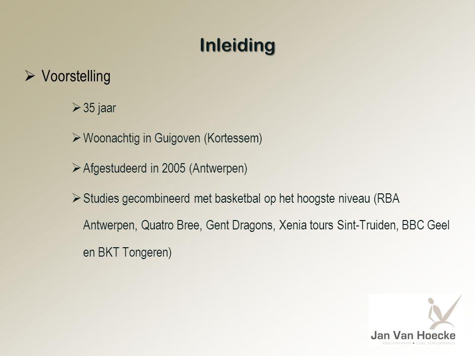 Inleiding  Voorstelling  35 jaar  Woonachtig in Guigoven (Kortessem)  Afgestudeerd in 2005 (Antwerpen)  Studies gecombineerd met basketbal op het hoogste niveau (RBA Antwerpen, Quatro Bree, Gent Dragons, Xenia tours Sint-Truiden, BBC Geel en BKT Tongeren)