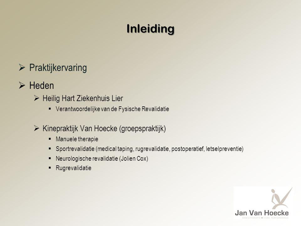 Inleiding  Praktijkervaring  Heden  Heilig Hart Ziekenhuis Lier  Verantwoordelijke van de Fysische Revalidatie  Kinepraktijk Van Hoecke (groepspr