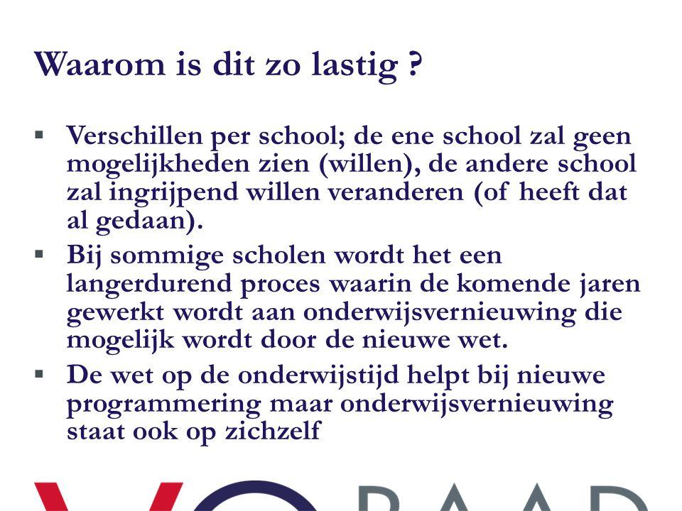 Waarom is dit zo lastig ?  Verschillen per school; de ene school zal geen mogelijkheden zien (willen), de andere school zal ingrijpend willen verande